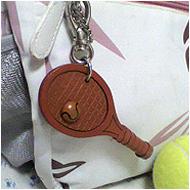 本革バッグチャーム テニスラケット