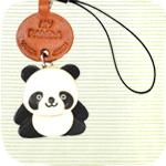 本革携帯ストラップ プチ動物 パンダ