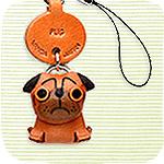 本革携帯犬ストラップ プチワンちゃん パグ