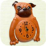 本革壁掛け時計 パグ